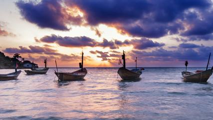Fisherman boat at Rayong beach, thailand