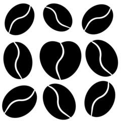 Favorite coffee bean in shape of heart in monochromatic style
