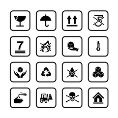 Set of packing symbols icon for box isolated on white background