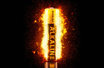 Alkaline Battery on Fire