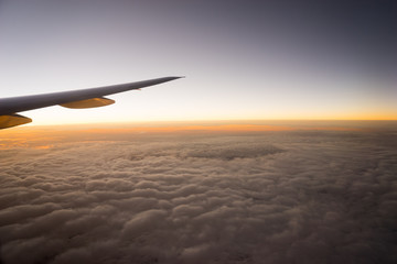 Airplane Wing in Flight from window..