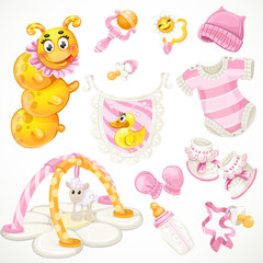 Set of pink baby toys objects clothes and things