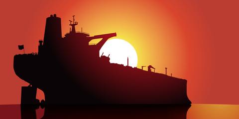 Petrolier couche de soleil