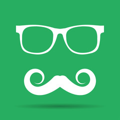 Mustache and Glasses vector icon.