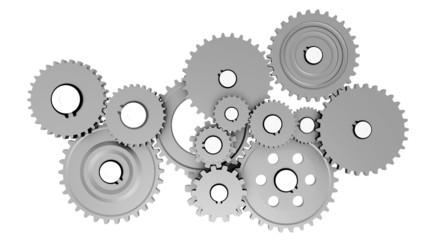 Gear wheel mechanics closeup - Gear set.