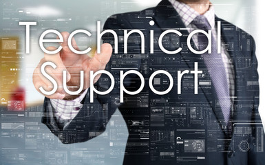 the businessman is choosing Technical Support from touch screen
