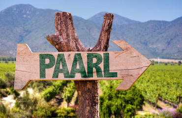 Paarl wooden sign with vineyard background
