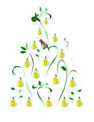 Stylized illustration of a partridge in a pear tree