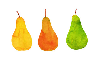 yellow, orange, green pears isolated