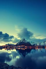 Tuinposter Scandinavië sunset in Reine Village, Lofoten Islands, Norway