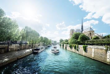 Seine and Notre Dame de Paris, Paris, France Wall mural