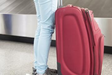 Luggage in airport conveyor belt