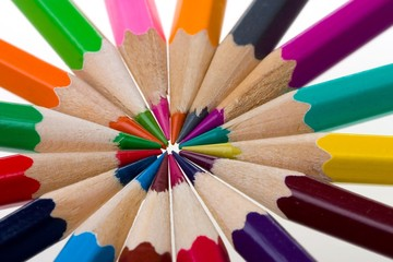 thick colored pencils against a white background color