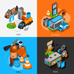 Gas station isometric 4 pictograms composition