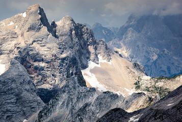 Jagged mountain ridges