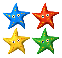 3D collection of colorful smiling starfish toys looking ahead