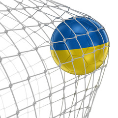 Ukrainian soccerball in net. Image with clipping path
