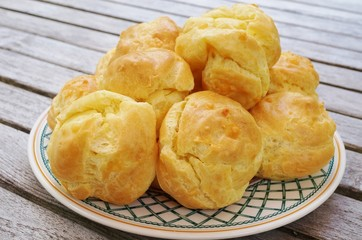 Plate of French gougeres cheese puff choux