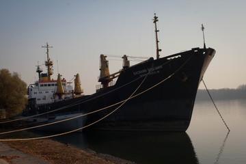 Ship near piers
