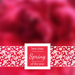 Vector photo background. Blurred photo background. Backdrop with a flower. Spring blurred poster with rose. Floral design for website. Blur. Unfocus. Wallpaper for presentation, advertising, sale.