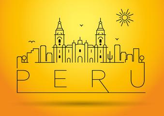 Peru Line Silhouette Typographic Design