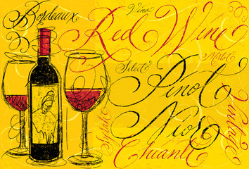 Red wine with calligraphy