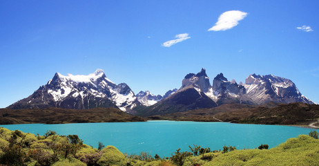 National Park Torres del Paine in southern Chile. Cliffs of Los Kuernos