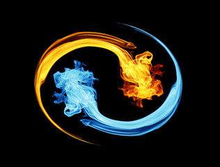 Yin-yang symbol, ice and fire