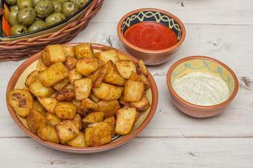 Spanish tapa patatas bravas
