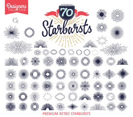 70 vintage starburst for vintage retro logos, signs. - Designers Collection