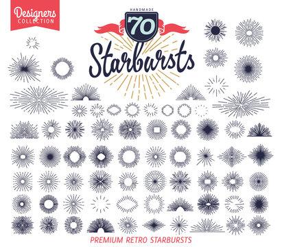 70 vintage starburst for vintage retro logos, signs. - Designers Collection
