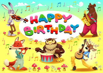 Happy Birthday card with musician animals