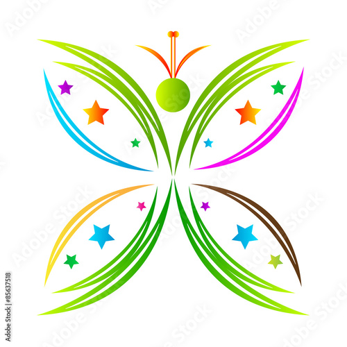quotabstract butterfly logo design isolated on white