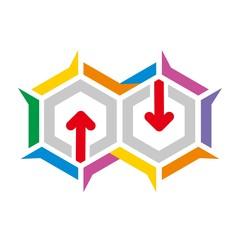 Logo penta arrow icon abstract vector