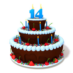 Birthday cake with number  fourteen