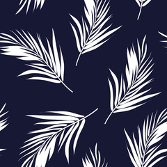 Dark blue and white seamless graphic pattern with palm tree
