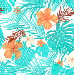 Bright seamless summer tropical pattern with palm tree leaves