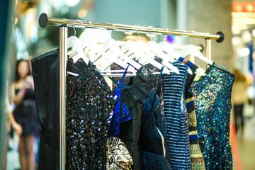 Female clothes in a fashion shop