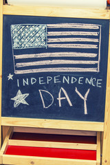 Figure symbol of the independence day of America on the drawing
