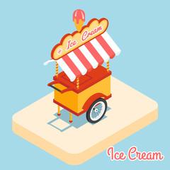 Ice cream cart 3d flat icon