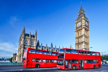 Foto auf Leinwand London roten bus Big Ben with buses in London, England