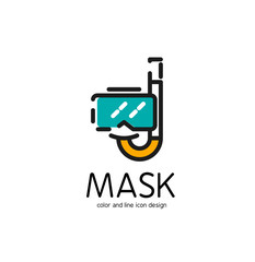 Color line icon for flat design. Mask and snorkel