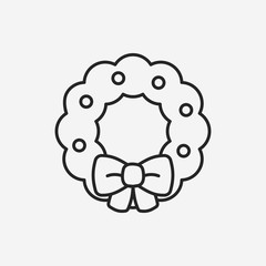 Christmas wreath line icon