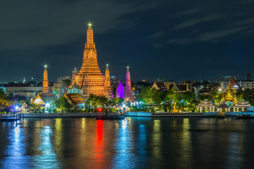Wat Arun Buddhist religious places in twilight time, Bangkok, Thailand