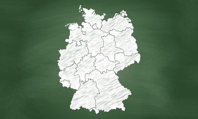 Deutschlandkarte | Tafel | Blackboard | grün