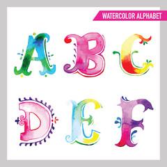 Watercolor Alphabet. Watercolor Font. ABC Painted Letters A-F