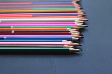 Colorful pencils - isolated on black background
