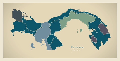 Modern Map - Panama with provinces PA