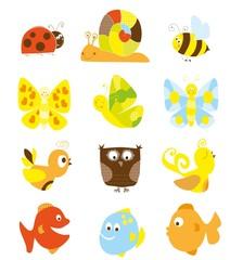 cute set of cartoon ladybird , snail, birds, fish, owl and bee - vectors for children