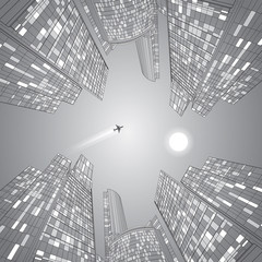 Airplane flying. Business building, vector lines, silver illustration